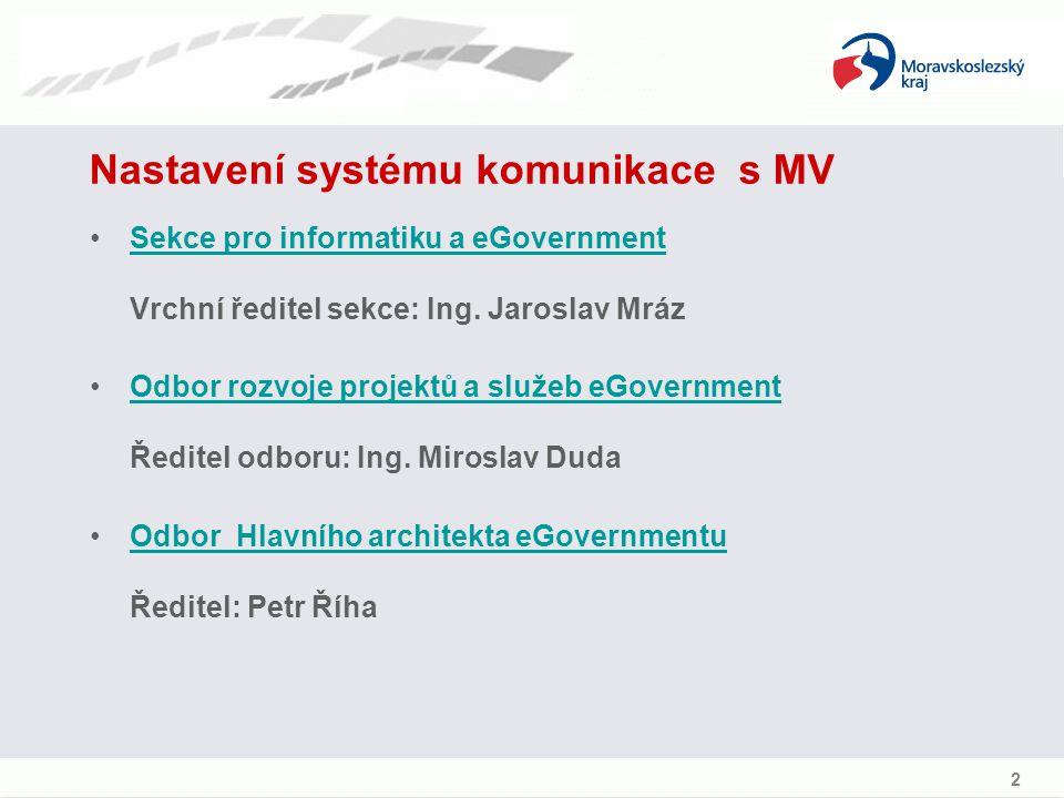 Nastavení systému komunikace s MV Sekce pro informatiku a eGovernment Vrchní ředitel sekce: Ing.