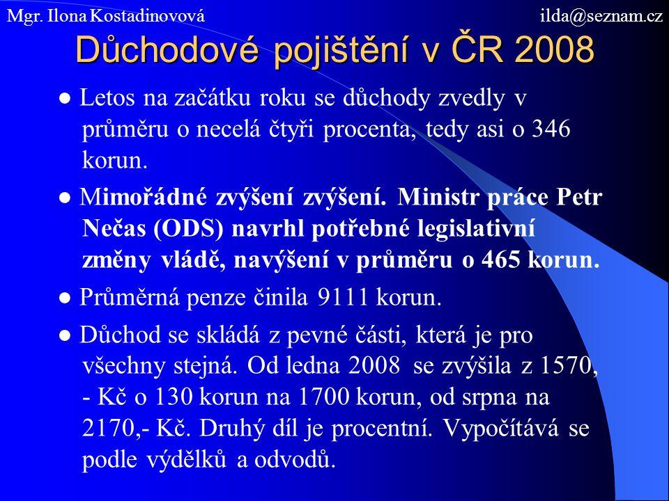 Důchodové pojištění v ČR 2008 ● Letos na začátku roku se důchody zvedly v průměru o necelá čtyři procenta, tedy asi o 346 korun. ● Mimořádné zvýšení z