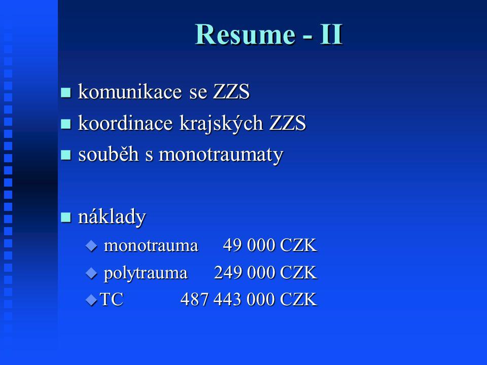 Resume - II komunikace se ZZS komunikace se ZZS koordinace krajských ZZS koordinace krajských ZZS souběh s monotraumaty souběh s monotraumaty náklady náklady  monotrauma 49 000 CZK  polytrauma 249 000 CZK  TC 487 443 000 CZK