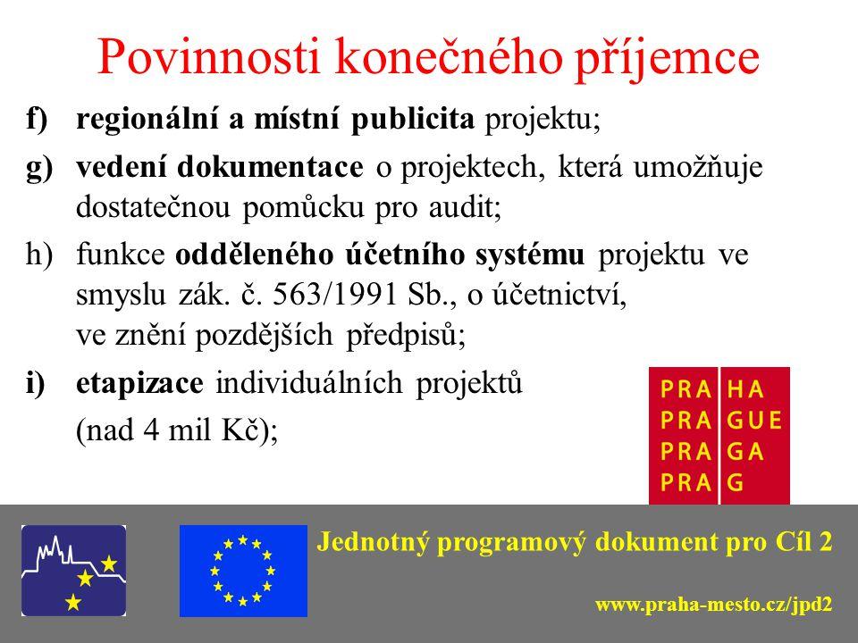 Povinnosti konečného příjemce a)zpracování žádosti o poskytnutí pomoci (ELZA); b)zpracování povinných příloh projektu; c)soulad s legislativou - příprava zadávací dokumentace projektu a zadávání veřejných zakázek v souladu s příslušnými předpisy (zejména zákon o veřejných zakázkách, ŽP, hospodářská soutěž); d)souběh dotací na týž projekt; e)realizace projektu v souladu s Podmínkami rozhodnutí (max.