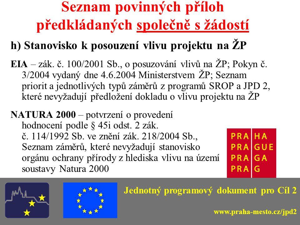 Seznam povinných příloh předkládaných společně s žádostí a)Čestné prohlášení (Elza) b)Doklady o právní subjektivitě žadatele c)Územní rozhodnutí – pravomocné !!.