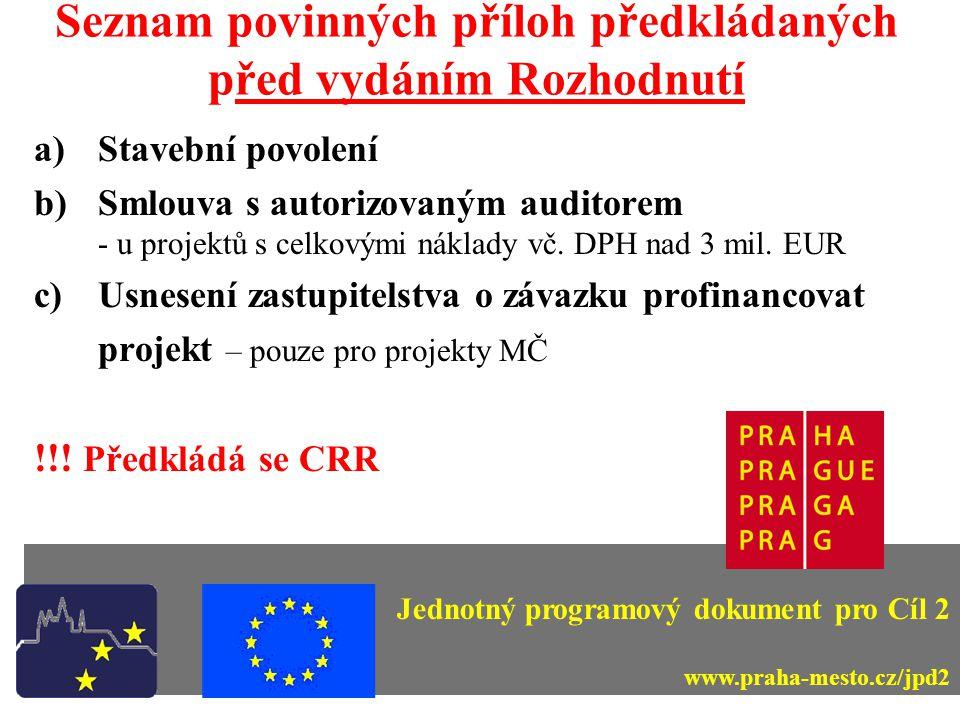 Seznam povinných příloh předkládaných po provedení ex-ante kontrol a)Formuláře ISPROFIN !!.