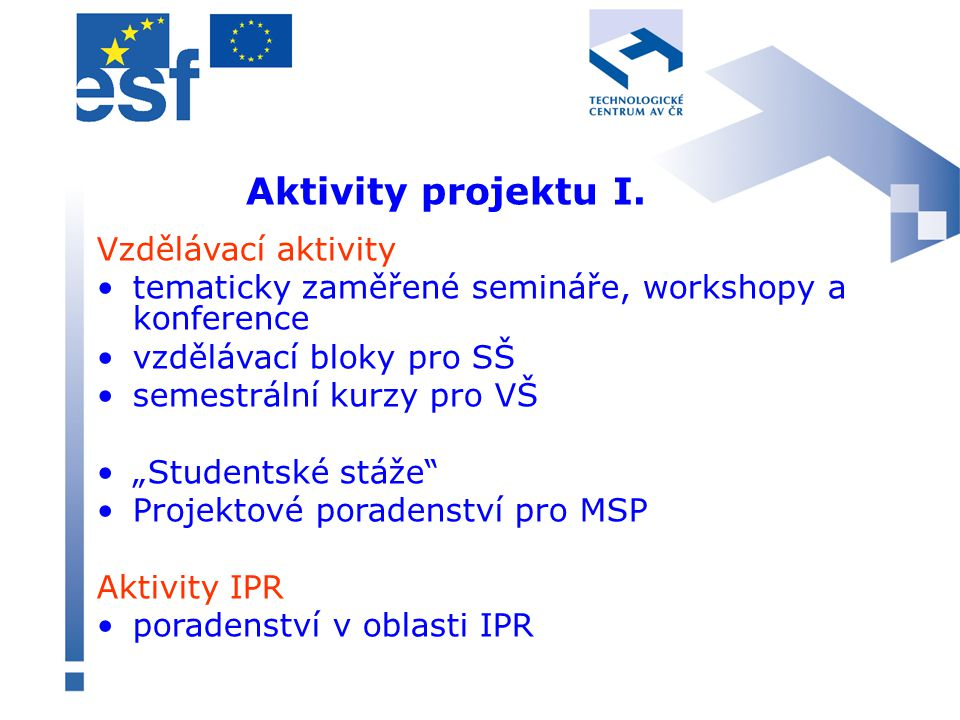 Aktivity projektu II.