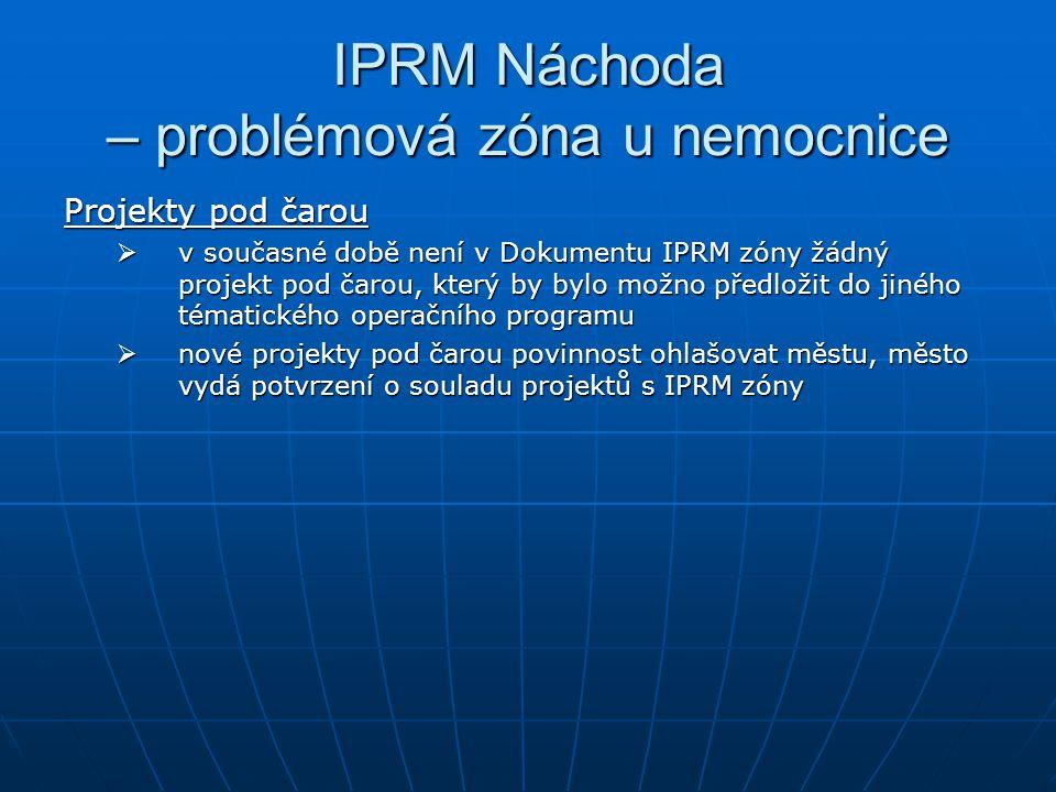 IPRM Náchoda – problémová zóna u nemocnice Projekty pod čarou  v současné době není v Dokumentu IPRM zóny žádný projekt pod čarou, který by bylo možno předložit do jiného tématického operačního programu  nové projekty pod čarou povinnost ohlašovat městu, město vydá potvrzení o souladu projektů s IPRM zóny