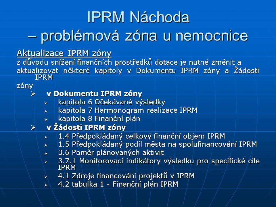 IPRM Náchoda – problémová zóna u nemocnice Aktualizace IPRM zóny z důvodu snížení finančních prostředků dotace je nutné změnit a aktualizovat některé kapitoly v Dokumentu IPRM zóny a Žádosti IPRM zóny  v Dokumentu IPRM zóny  kapitola 6 Očekávané výsledky  kapitola 7 Harmonogram realizace IPRM  kapitola 8 Finanční plán  v Žádosti IPRM zóny  1.4 Předpokládaný celkový finanční objem IPRM  1.5 Předpokládaný podíl města na spolufinancování IPRM  3.6 Poměr plánovaných aktivit  3.7.1 Monitorovací indikátory výsledku pro specifické cíle IPRM  4.1 Zdroje financování projektů v IPRM  4.2 tabulka 1 - Finanční plán IPRM