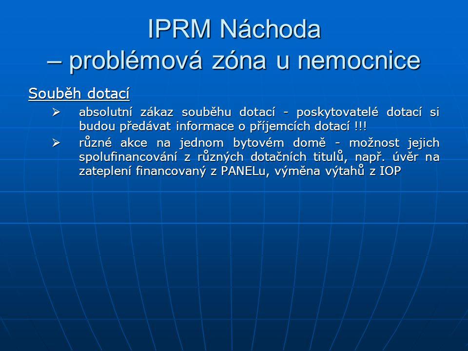 IPRM Náchoda – problémová zóna u nemocnice Souběh dotací  absolutní zákaz souběhu dotací - poskytovatelé dotací si budou předávat informace o příjemcích dotací !!.