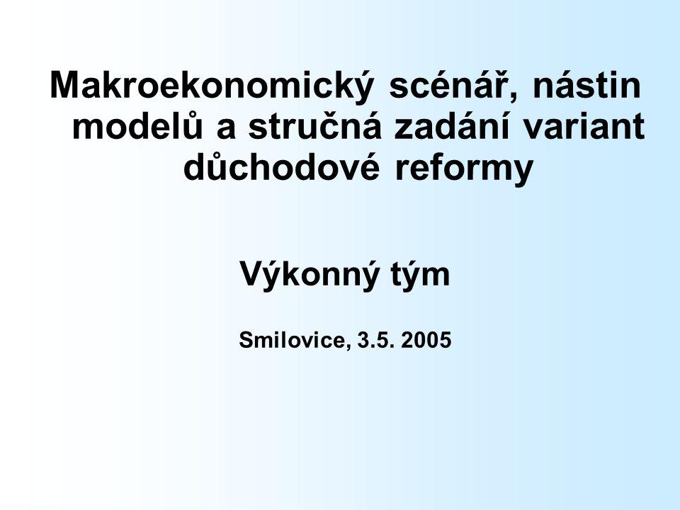 Makroekonomický scénář, nástin modelů a stručná zadání variant důchodové reformy Výkonný tým Smilovice, 3.5.