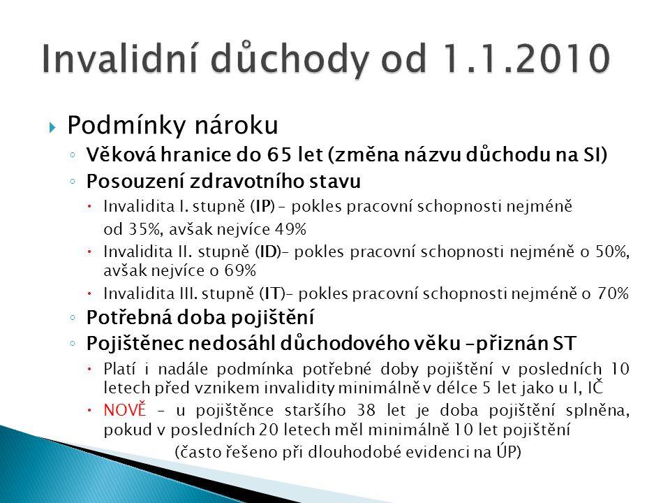 """ Plná invalidita ◦ Od 1.1.2010 považována za invaliditu III. stupně (IT), platí i u """"invalidních důchodů z mládí""""  Pokles schopnosti soustavné výděl"""