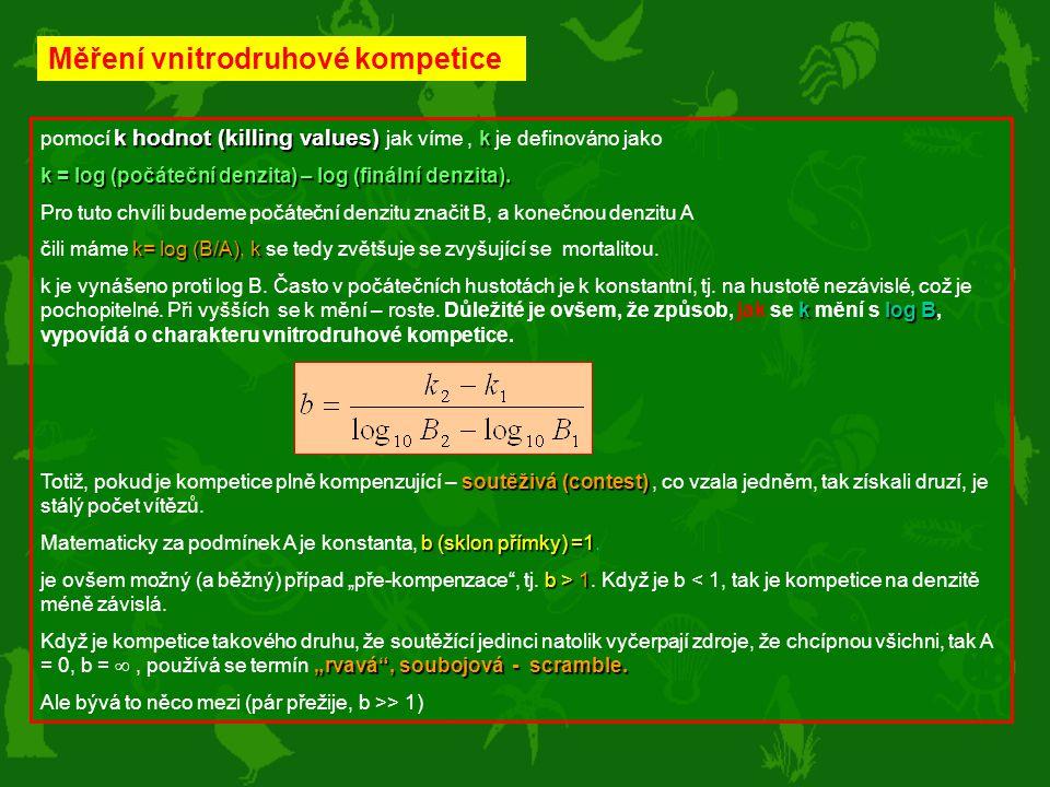 k hodnot (killing values) k pomocí k hodnot (killing values) jak víme, k je definováno jako k = log (počáteční denzita) – log (finální denzita). Pro t