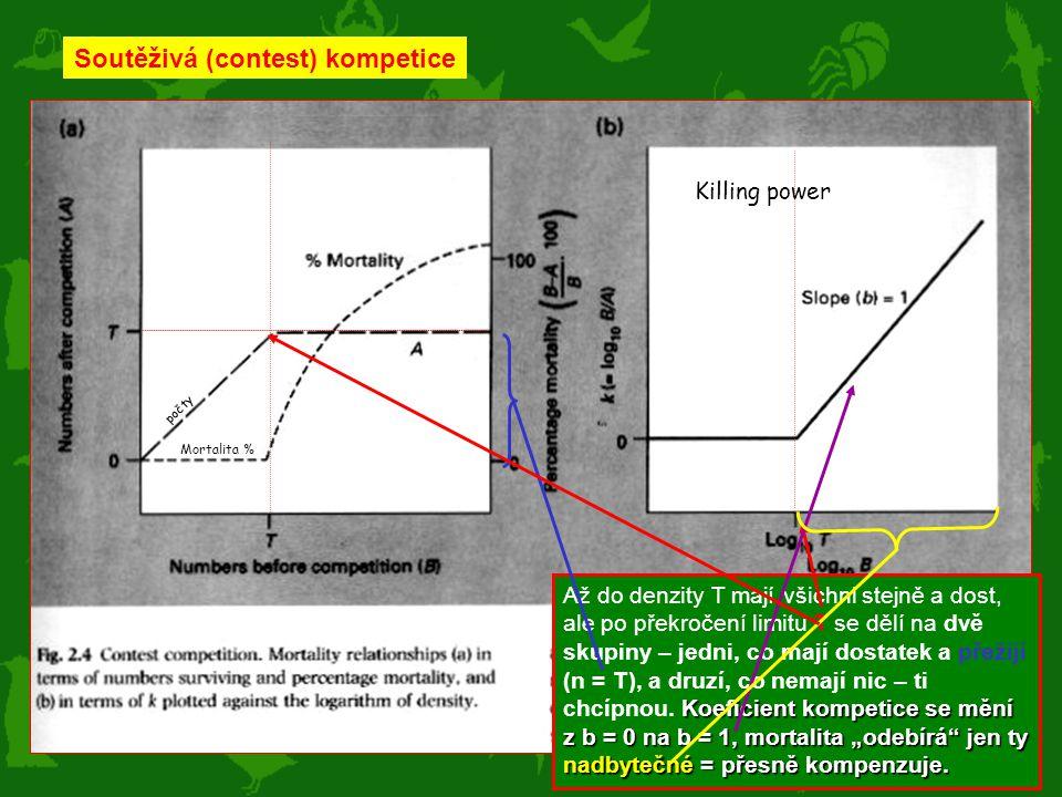 """Soutěživá (contest) kompetice Koeficient kompetice se mění z b = 0 na b = 1, mortalita """"odebírá"""" jen ty nadbytečné = přesně kompenzuje. Až do denzity"""