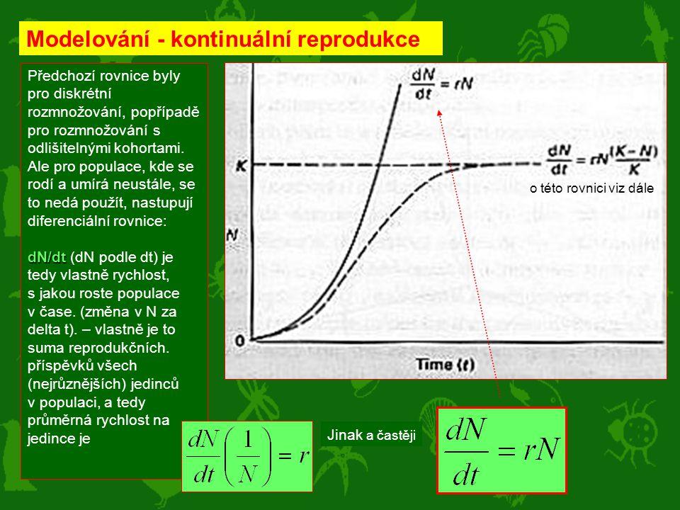 Modelování - kontinuální reprodukce Předchozí rovnice byly pro diskrétní rozmnožování, popřípadě pro rozmnožování s odlišitelnými kohortami. Ale pro p