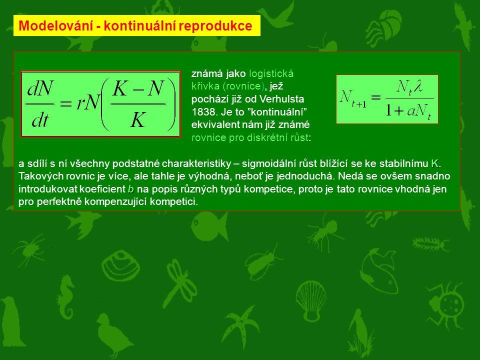 Modelování - kontinuální reprodukce K b a sdílí s ní všechny podstatné charakteristiky – sigmoidální růst blížící se ke stabilnímu K. Takových rovnic