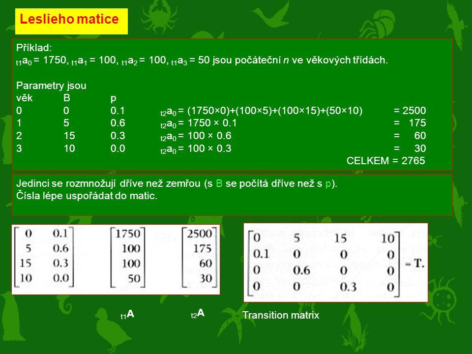 Leslieho matice Příklad: t1 a 0 = 1750, t1 a 1 = 100, t1 a 2 = 100, t1 a 3 = 50 jsou počáteční n ve věkových třídách. Parametry jsou věkBp 000.1 t2 a