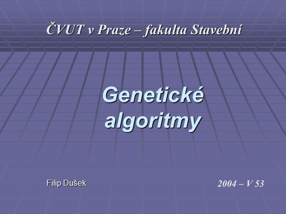 Genetické algoritmy Filip Dušek Filip Dušek 2004 – V 53 ČVUT v Praze – fakulta Stavební