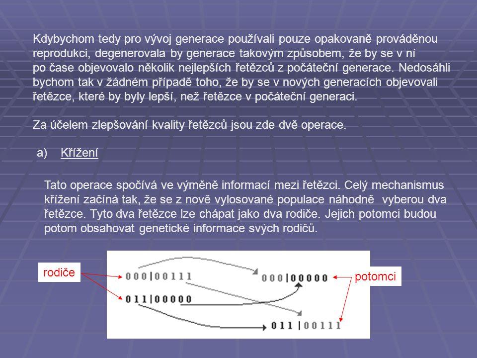 Tato operace spočívá ve výměně informací mezi řetězci. Celý mechanismus křížení začíná tak, že se z nově vylosované populace náhodně vyberou dva řetěz