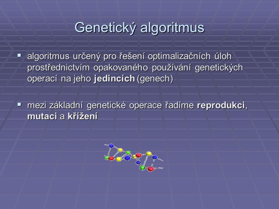 Genetický algoritmus  algoritmus určený pro řešení optimalizačních úloh prostřednictvím opakovaného používání genetických operací na jeho jedincích (