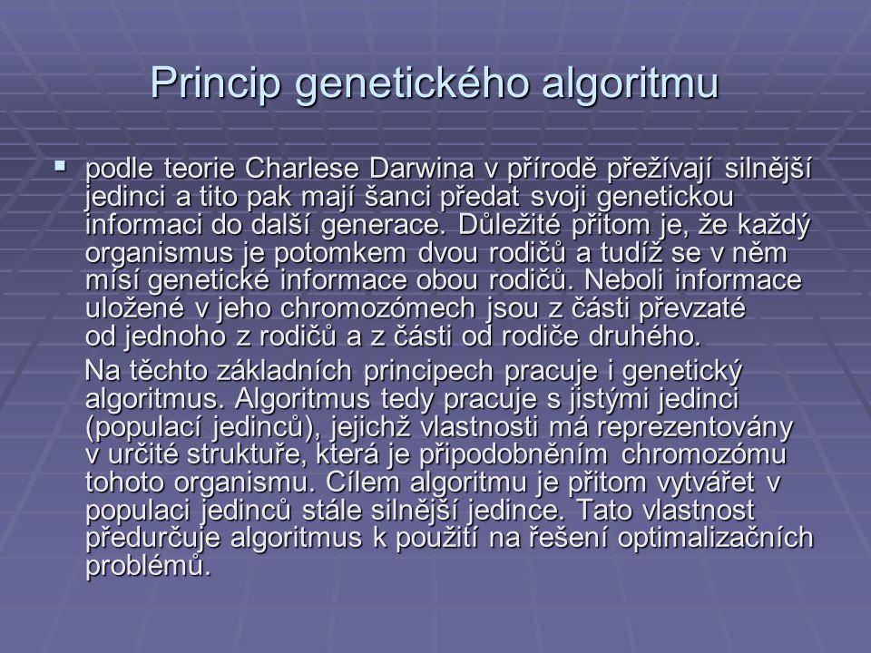 Princip genetického algoritmu  podle teorie Charlese Darwina v přírodě přežívají silnější jedinci a tito pak mají šanci předat svoji genetickou infor