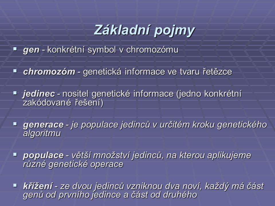 Základní pojmy  gen - konkrétní symbol v chromozómu  chromozóm - genetická informace ve tvaru řetězce  jedinec - nositel genetické informace (jedno