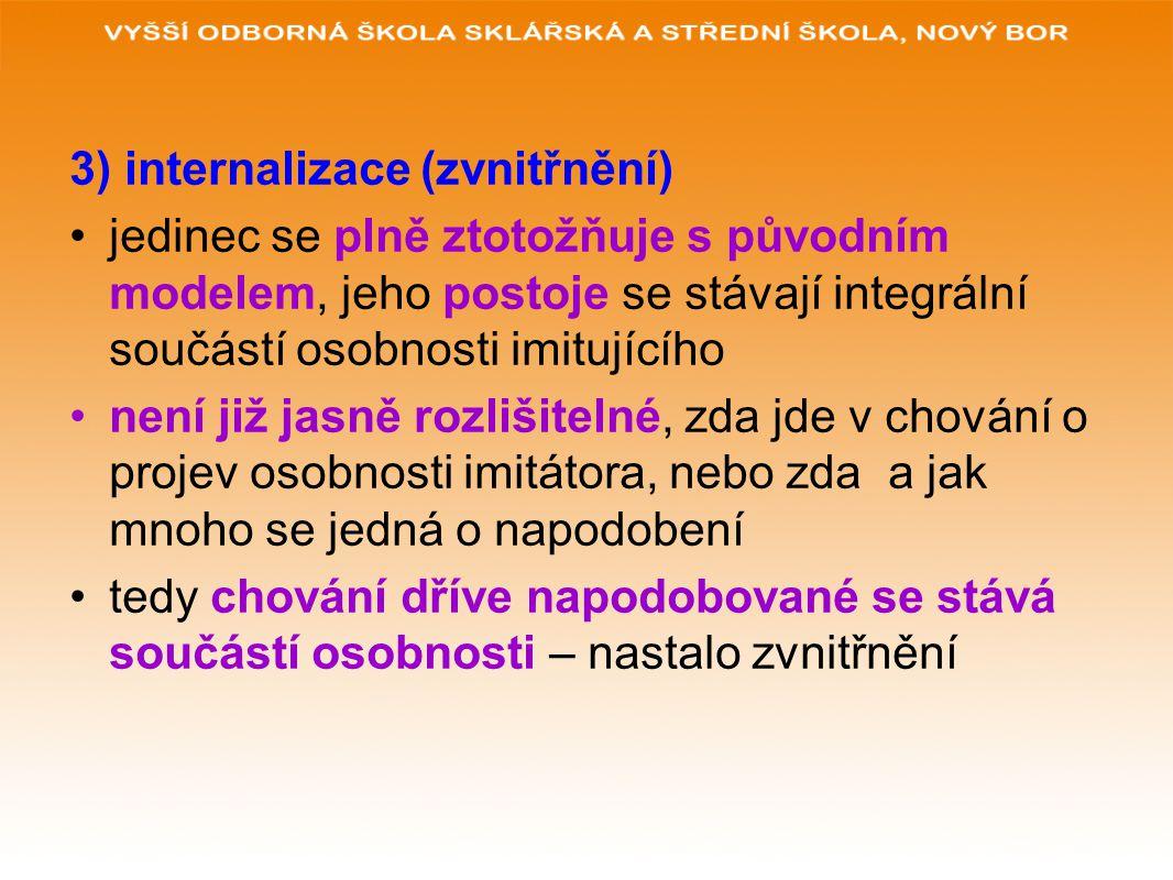 3) internalizace (zvnitřnění) jedinec se plně ztotožňuje s původním modelem, jeho postoje se stávají integrální součástí osobnosti imitujícího není ji