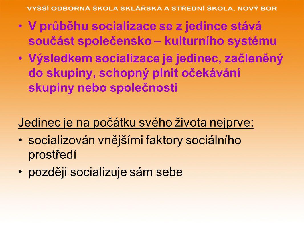 V průběhu socializace se z jedince stává součást společensko – kulturního systému Výsledkem socializace je jedinec, začleněný do skupiny, schopný plni
