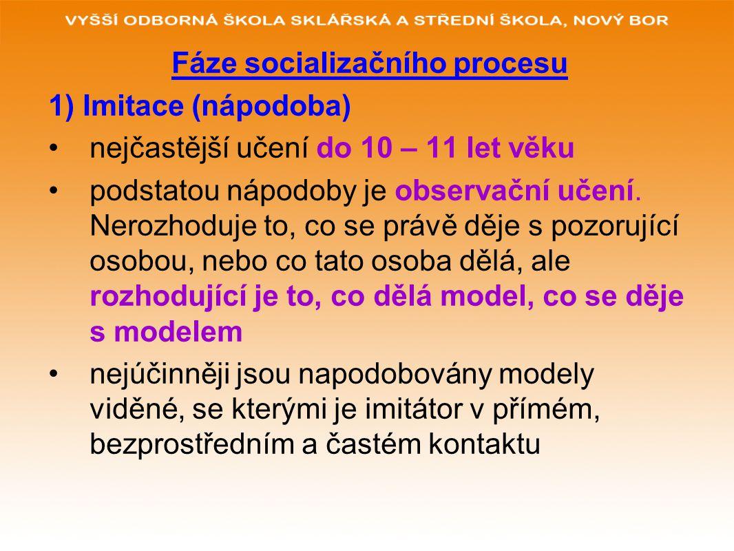 Fáze socializačního procesu 1) Imitace (nápodoba) nejčastější učení do 10 – 11 let věku podstatou nápodoby je observační učení. Nerozhoduje to, co se