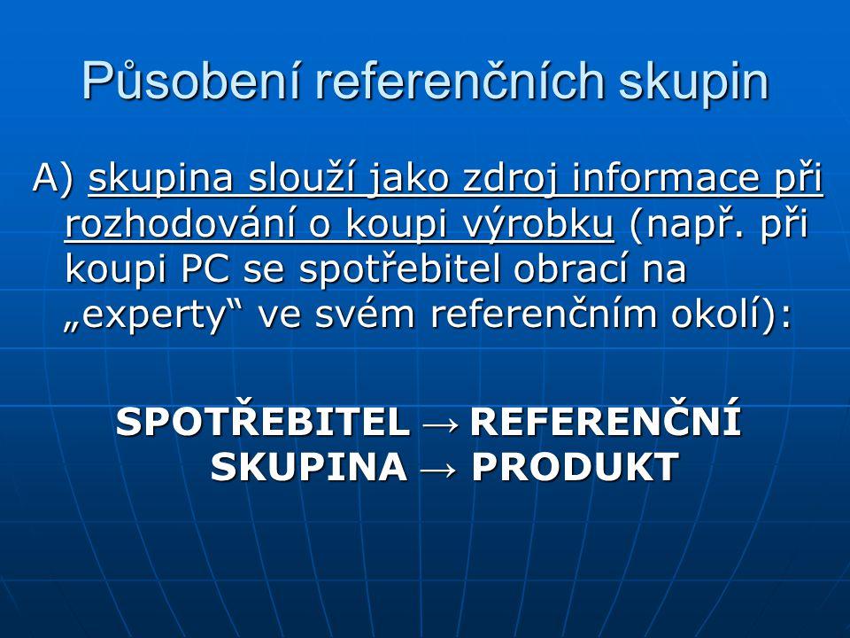 """Působení referenčních skupin A) skupina slouží jako zdroj informace při rozhodování o koupi výrobku (např. při koupi PC se spotřebitel obrací na """"expe"""