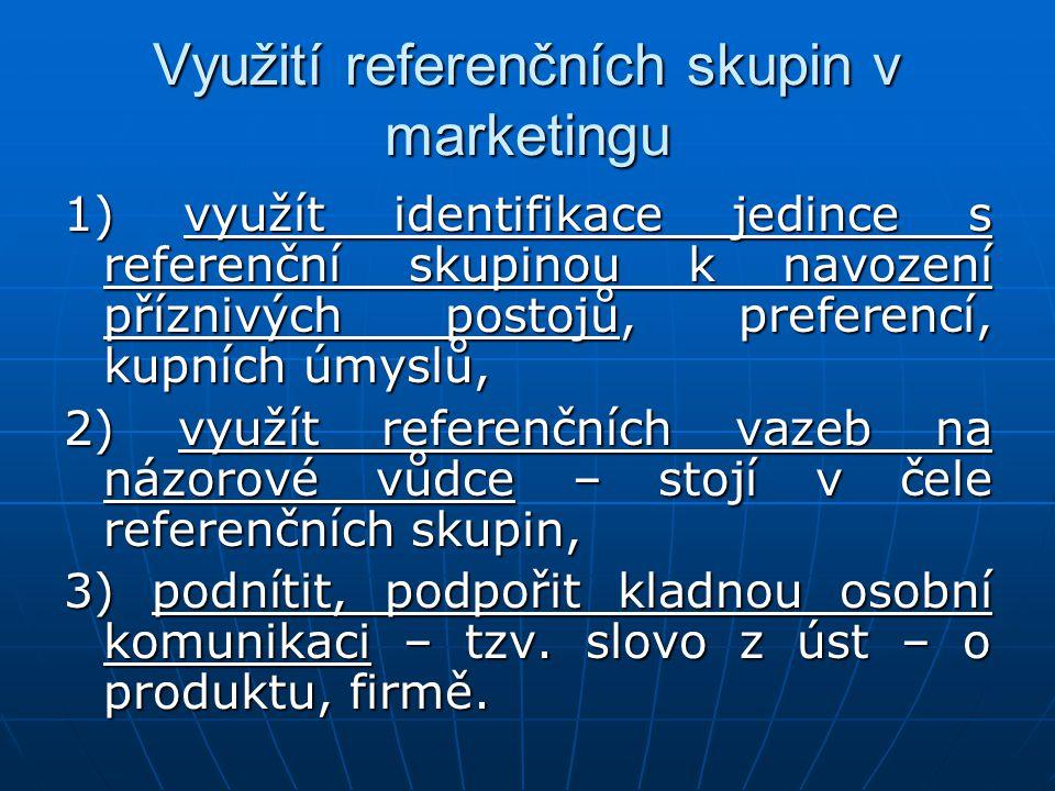 Využití referenčních skupin v marketingu 1) využít identifikace jedince s referenční skupinou k navození příznivých postojů, preferencí, kupních úmysl
