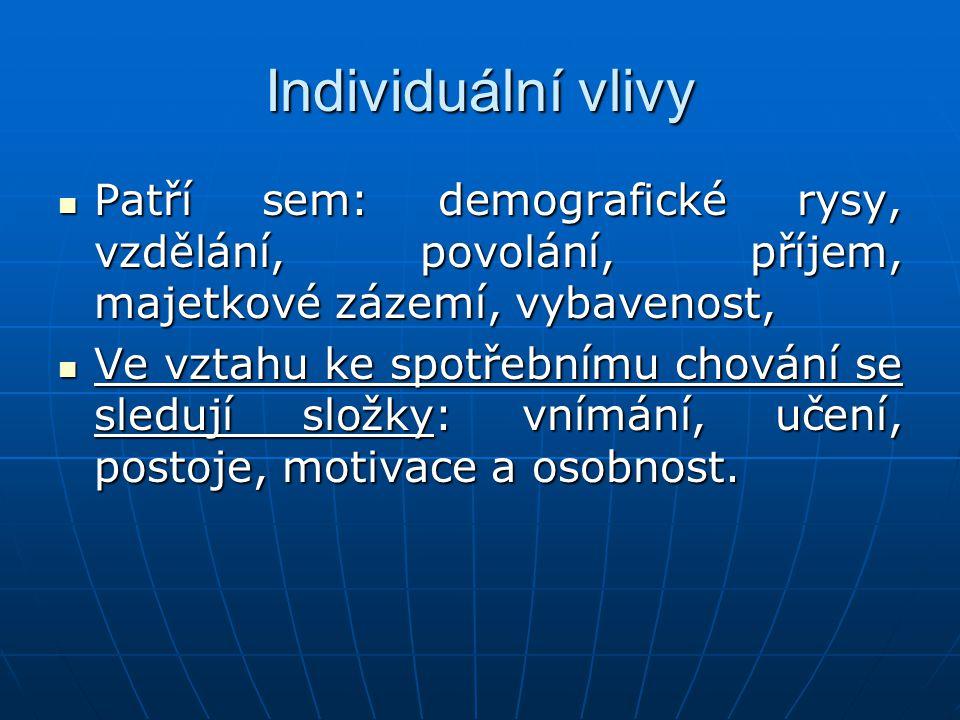 Individuální vlivy Patří sem: demografické rysy, vzdělání, povolání, příjem, majetkové zázemí, vybavenost, Patří sem: demografické rysy, vzdělání, pov