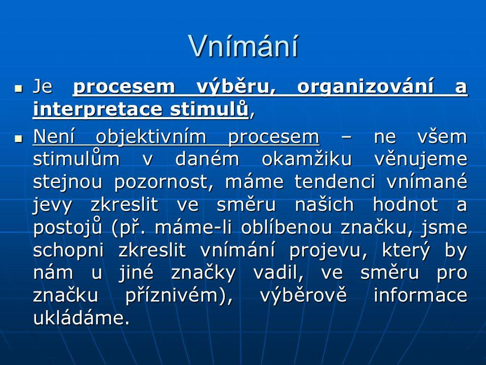 Vnímání Je procesem výběru, organizování a interpretace stimulů, Je procesem výběru, organizování a interpretace stimulů, Není objektivním procesem –