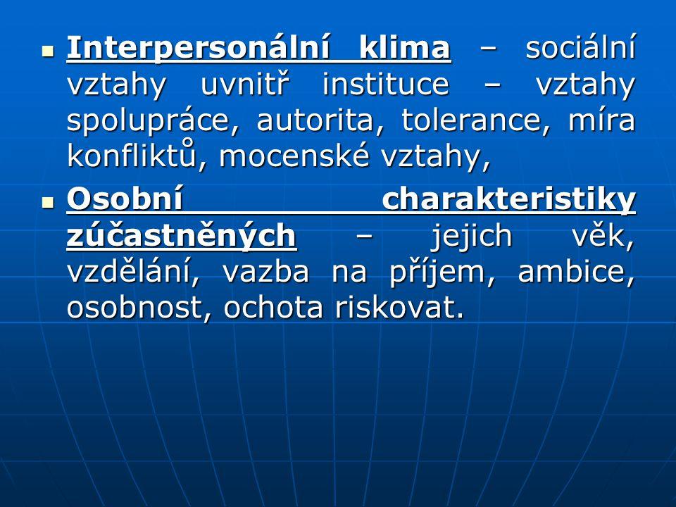 Interpersonální klima – sociální vztahy uvnitř instituce – vztahy spolupráce, autorita, tolerance, míra konfliktů, mocenské vztahy, Interpersonální kl