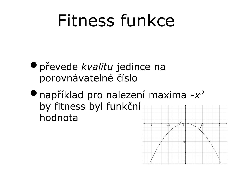 převede kvalitu jedince na porovnávatelné číslo například pro nalezení maxima -x 2 by fitness byl funkční hodnota Fitness funkce