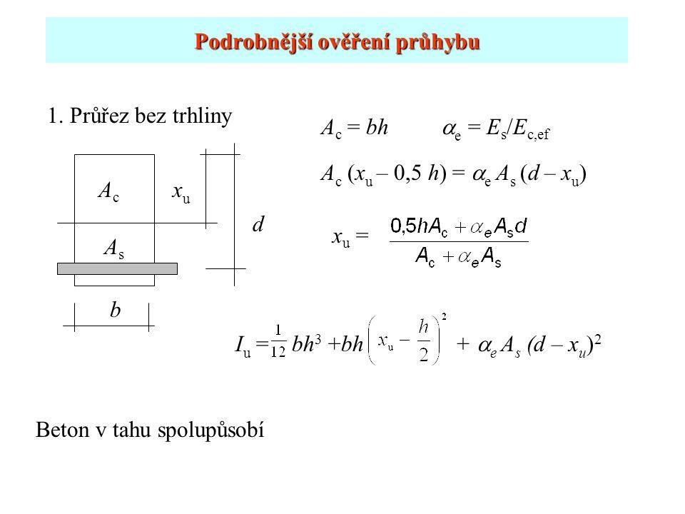 Podrobnější ověření průhybu 1. Průřez bez trhliny xuxu AsAs b A c (x u – 0,5 h) =  e A s (d – x u ) I u = bh 3 +bh +  e A s (d – x u ) 2 x u = d AcA