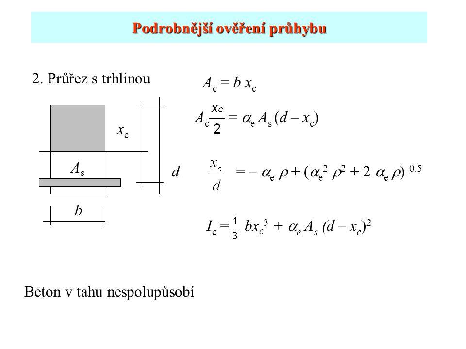 Podrobnější ověření průhybu 2. Průřez s trhlinou xcxc AsAs b A c =  e A s (d – x c ) I c = bx c 3 +  e A s (d – x c ) 2 d A c = b x c = –  e  + (