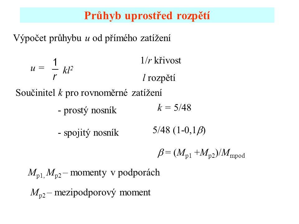Průhyb uprostřed rozpětí u = k = 5/48 - prostý nosník kl 2 5/48 (1-0,1  - spojitý nosník  = (M p1 +M p2 )/M mpod Výpočet průhybu u od přímého zatíž