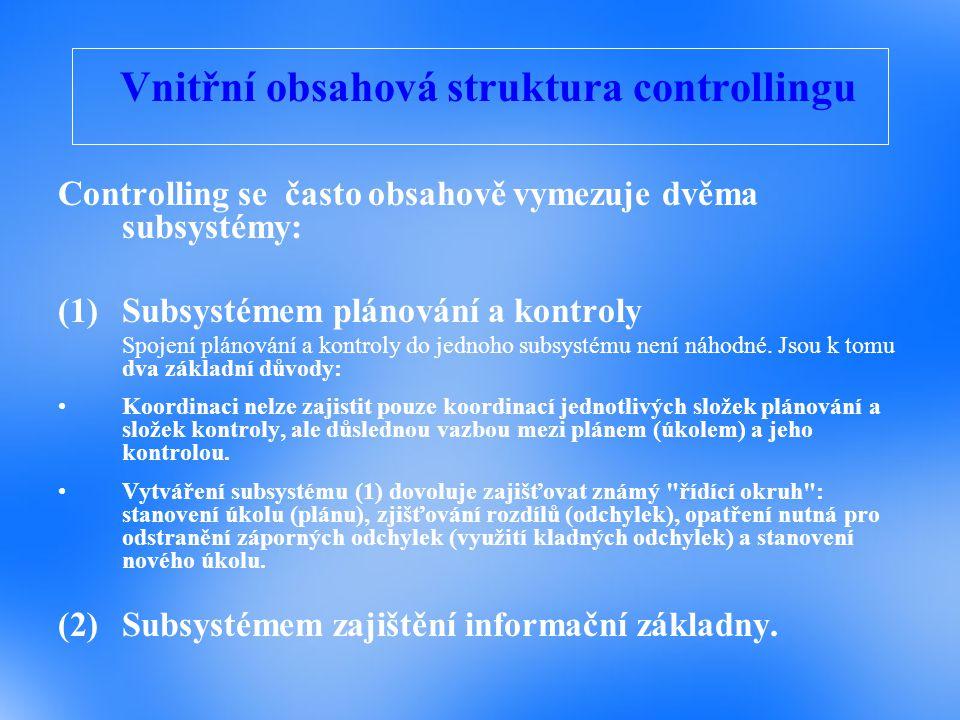 Vnitřní obsahová struktura controllingu Controlling se často obsahově vymezuje dvěma subsystémy: (1)Subsystémem plánování a kontroly Spojení plánování a kontroly do jednoho subsystému není náhodné.
