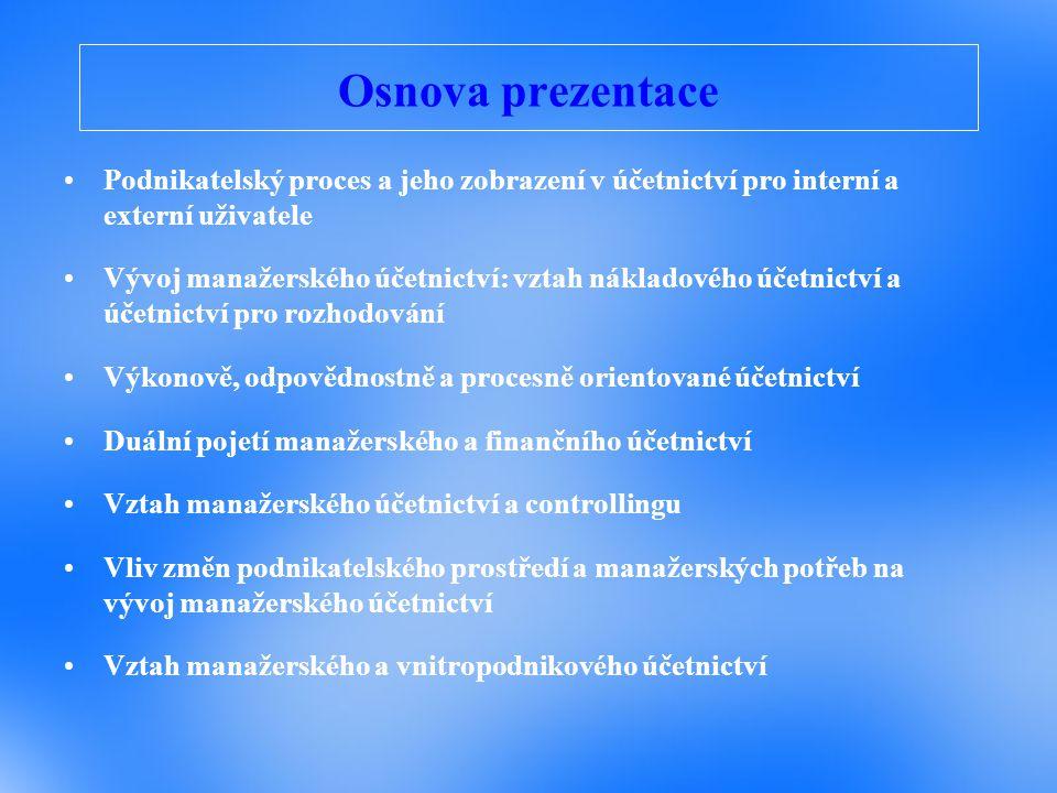 Osnova prezentace Podnikatelský proces a jeho zobrazení v účetnictví pro interní a externí uživatele Vývoj manažerského účetnictví: vztah nákladového