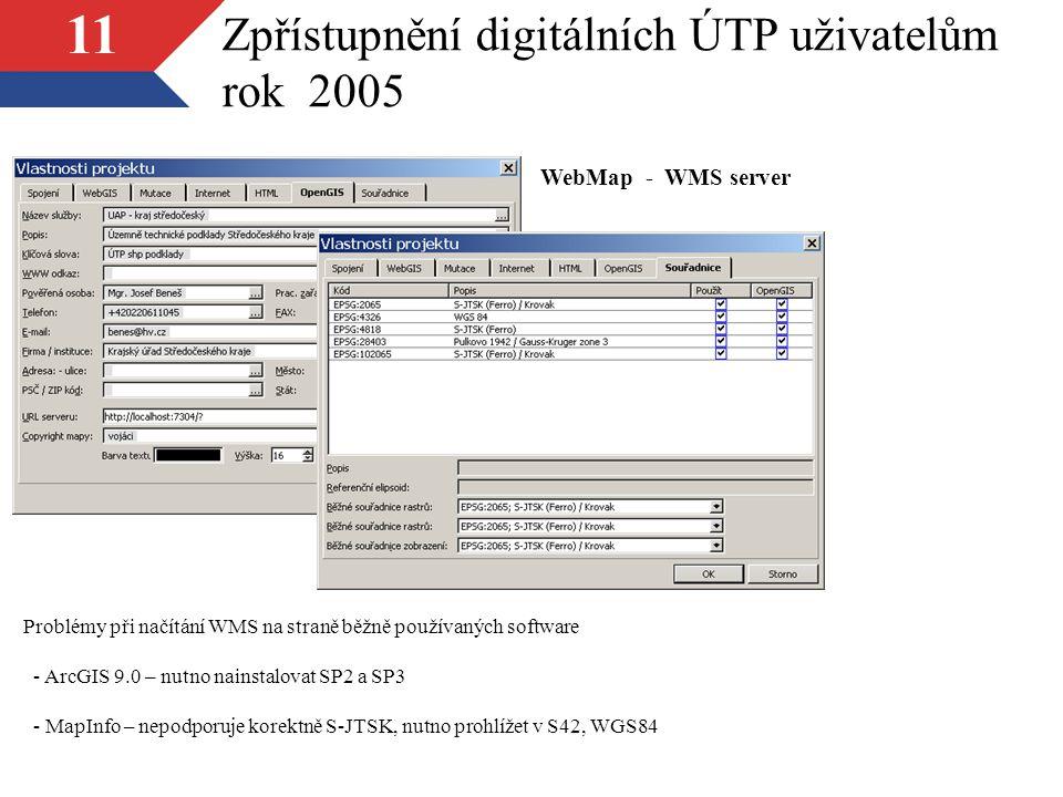 11 Zpřístupnění digitálních ÚTP uživatelům rok 2005 WebMap - WMS server Problémy při načítání WMS na straně běžně používaných software - ArcGIS 9.0 – nutno nainstalovat SP2 a SP3 - MapInfo – nepodporuje korektně S-JTSK, nutno prohlížet v S42, WGS84