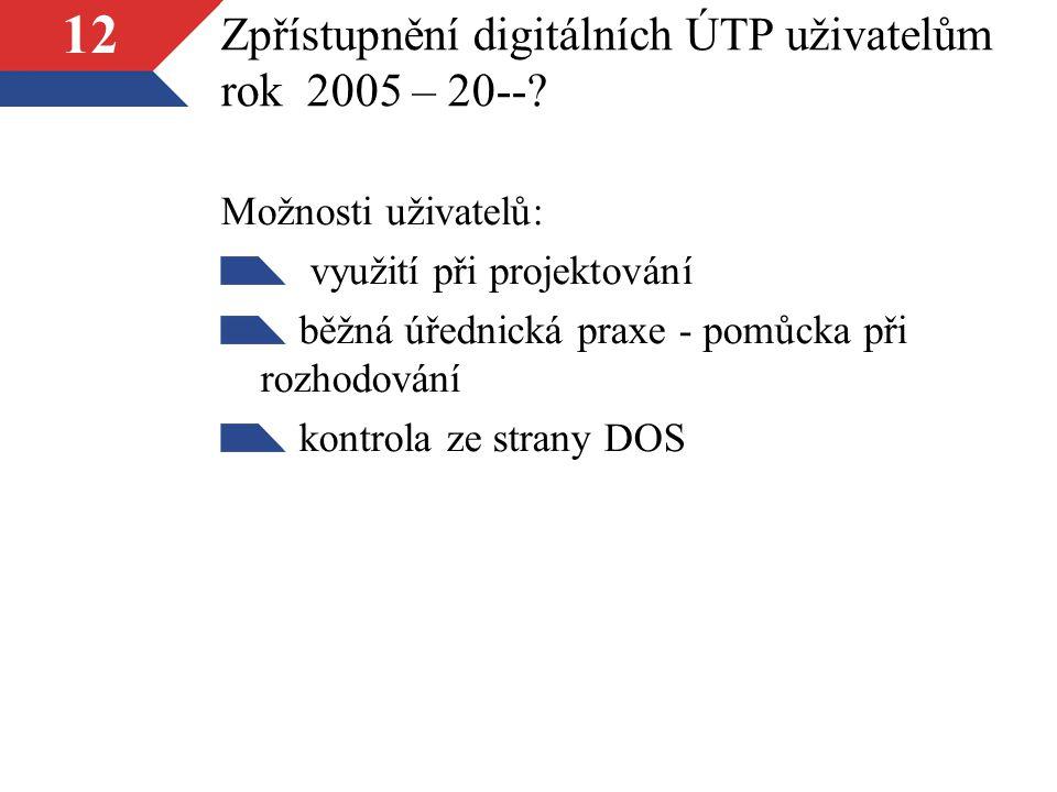 12 Zpřístupnění digitálních ÚTP uživatelům rok 2005 – 20--.