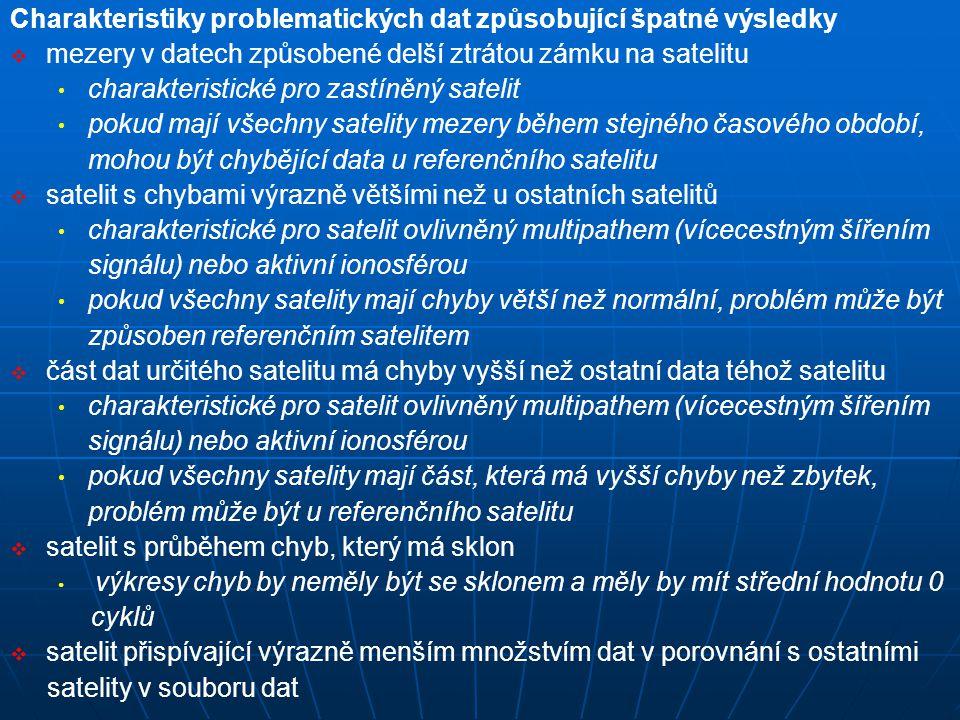 Charakteristiky problematických dat způsobující špatné výsledky   mezery v datech způsobené delší ztrátou zámku na satelitu charakteristické pro zas