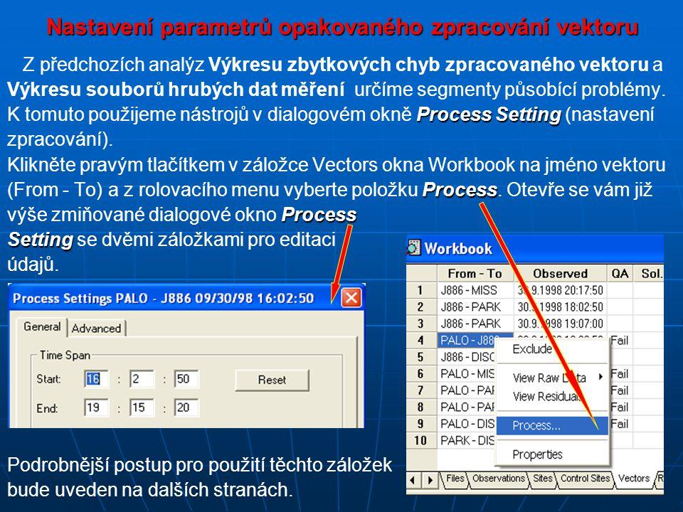 Nastavení parametrů opakovaného zpracování vektoru Z předchozích analýz Výkresu zbytkových chyb zpracovaného vektoru a Výkresu souborů hrubých dat měření určíme segmenty působící problémy.