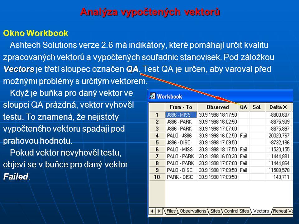 Analýza vypočtených vektorů Okno Workbook Ashtech Solutions verze 2.6 má indikátory, které pomáhají určit kvalitu zpracovaných vektorů a vypočtených souřadnic stanovisek.