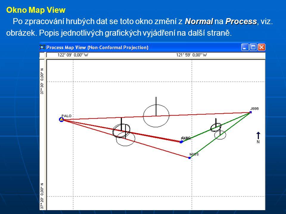 Horizontal Control Horizontal Control (horizontální kontrola) na každé stanovisko s horizontální kontrolou je umístěn trojúhelník Vertical Control Vertical Control (vertikální kontrola) na každé stanovisko s vertikální kontrolou je umístěn kroužek Horizontal and Vertical Control Horizontal and Vertical Control (stanovisko Palo) toto stanovisko má trojúhelník v kroužku (obě kontroly) New Sites New Sites (nová stanoviska) jsou zobrazena modrými čtverečky Error Regions Error Regions (elipsa kolem bodu nebo na vektoru) grafické zobrazení horizontálních nejistot vektorů Vertikal Error Bar Vertikal Error Bar (svislá silná čára) grafické zobrazení vertikálních nejistot vektorůVektory plná čára představuje zpracovaný vektor pokud vektor vyhoví testu QA a typ řešení je Fixed, čára je zelená když vektor neprojde kontrolou nebo má typ řešení Partial, příp.