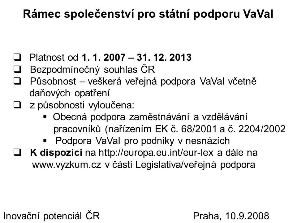 Inovační potenciál ČR Praha, 10.9.2008 Rámec společenství pro státní podporu VaVaI základní principy  Základní princip – státní/veřejná podpora je zakázána  Veřejná podpora – znaky vymezeny v čl.