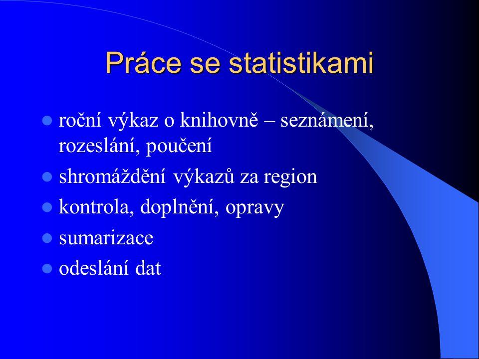 Práce se statistikami roční výkaz o knihovně – seznámení, rozeslání, poučení shromáždění výkazů za region kontrola, doplnění, opravy sumarizace odeslání dat