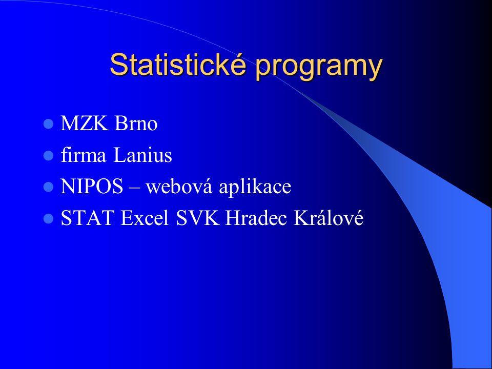Statistické programy MZK Brno firma Lanius NIPOS – webová aplikace STAT Excel SVK Hradec Králové