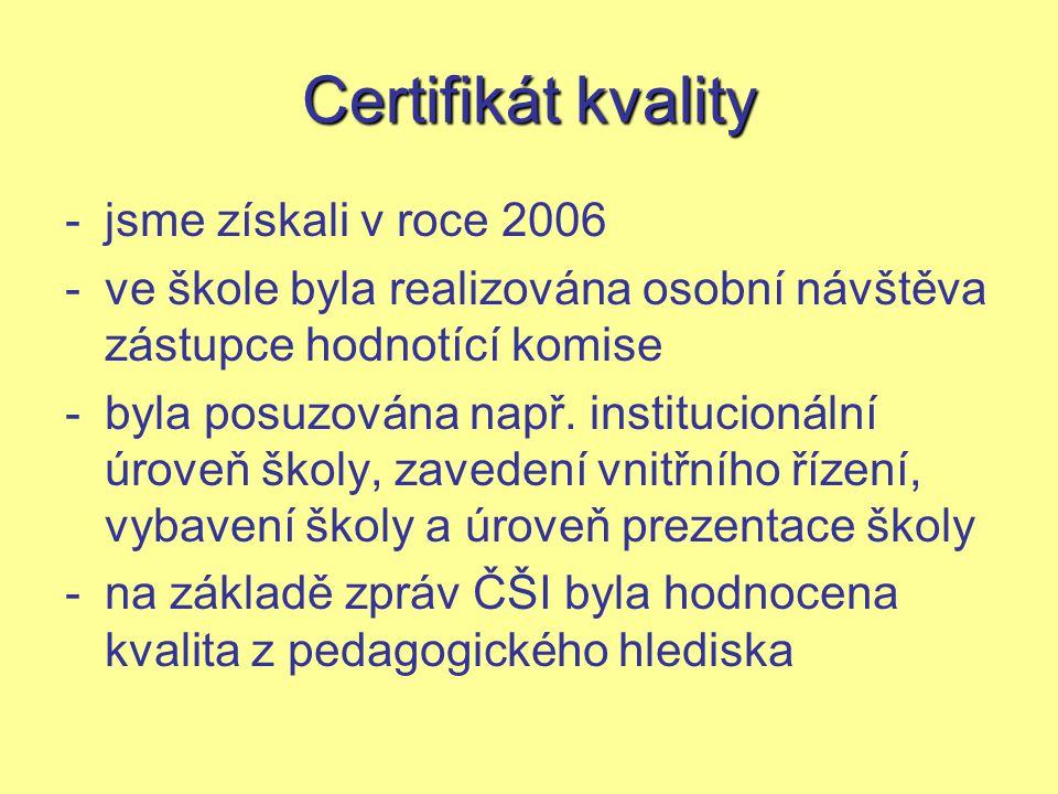 Certifikát kvality -jsme získali v roce 2006 -ve škole byla realizována osobní návštěva zástupce hodnotící komise -byla posuzována např.