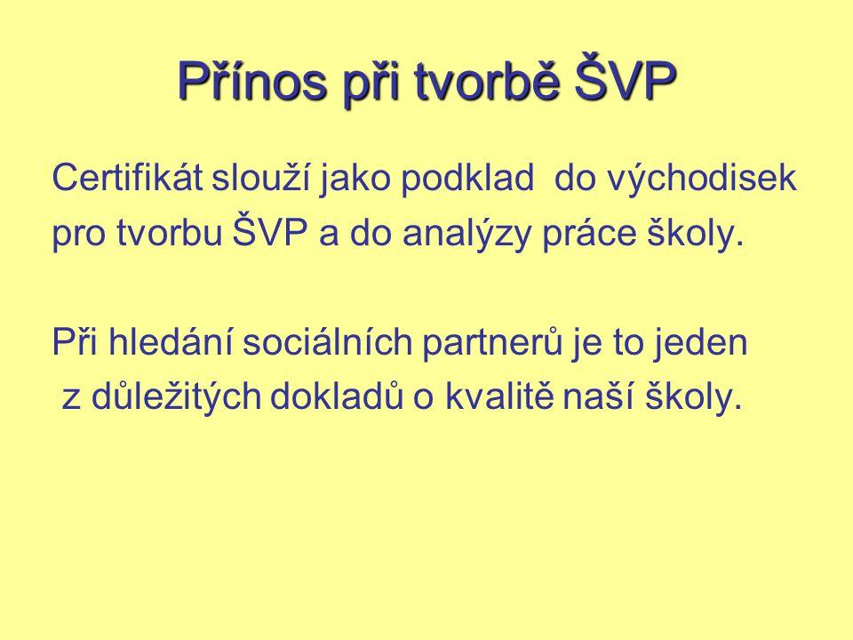 Přínos při tvorbě ŠVP Certifikát slouží jako podklad do východisek pro tvorbu ŠVP a do analýzy práce školy.