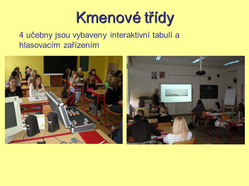 Kmenové třídy 4 učebny jsou vybaveny interaktivní tabulí a hlasovacím zařízením