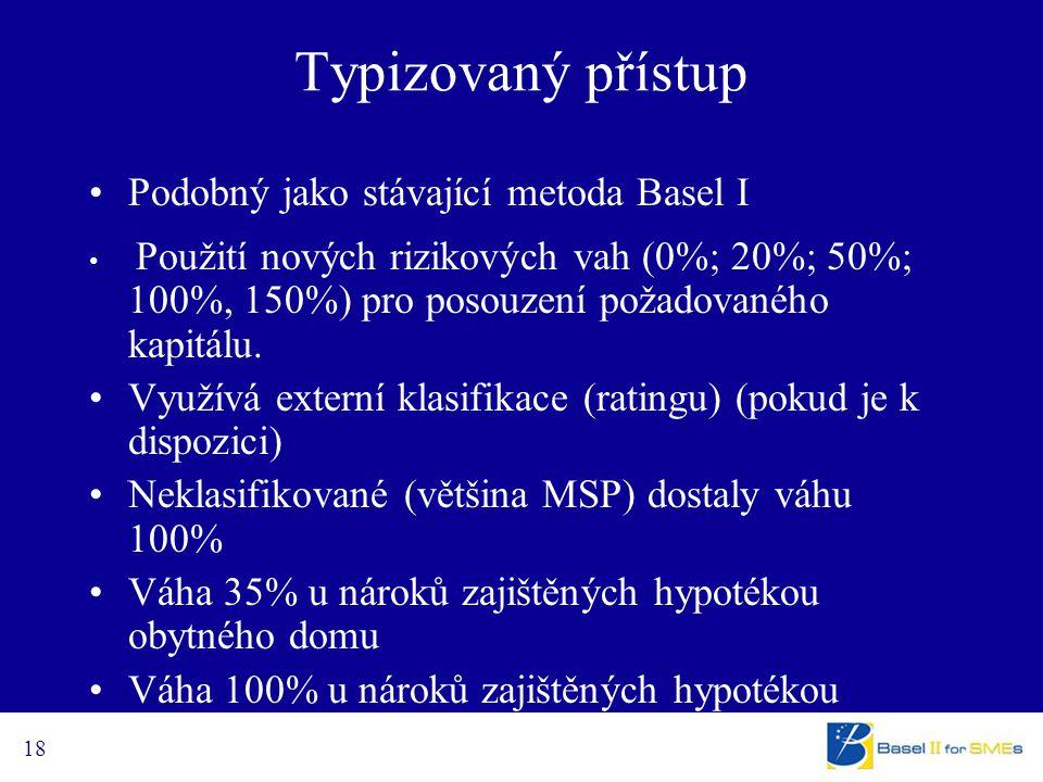 18 Typizovaný přístup Podobný jako stávající metoda Basel I Použití nových rizikových vah (0%; 20%; 50%; 100%, 150%) pro posouzení požadovaného kapitá