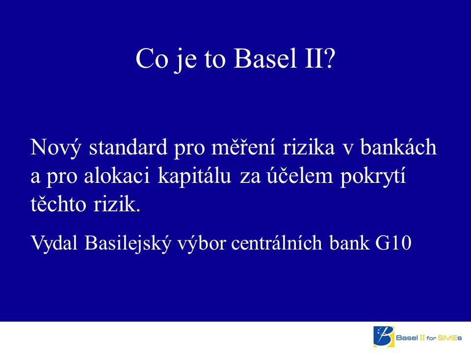 Nový standard pro měření rizika v bankách a pro alokaci kapitálu za účelem pokrytí těchto rizik. Vydal Basilejský výbor centrálních bank G10 Co je to
